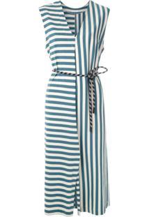 Osklen Vestido Summer Stripe Com Amarração - Azul