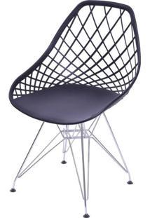 Cadeira Boom Polipropileno Preto Com Base Cromada - 55935 - Sun House