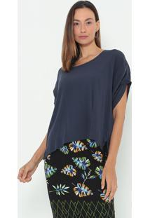 Blusa Lisa Com Recortes- Azul Marinho- Colccicolcci