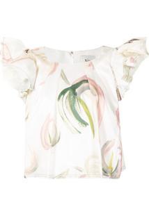 Aje Blusa Cropped Com Estampa Floral - Branco