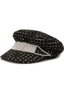 Venna Chapéu De Tweed Com Cristais - Preto