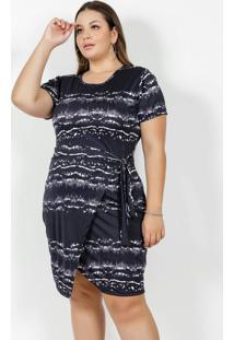 Vestido Curto Tie Dye Para Amarrar Plus Size