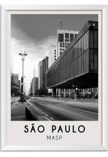 Quadro 65X45Cm Cidades São Paulo Brasil Moldura Branca Com Vidro - Oppen House Decora