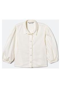 Camisa Manga Bufante Lisa Com Botões Forrados | Blue Steel | Branco | Pp