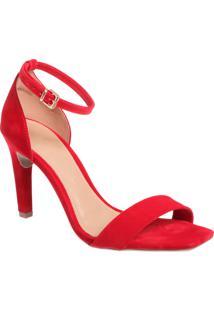 Sandália Nobuck Vermelha Salto Fino