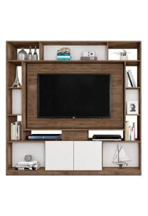 Estante Home Painel Para Tv Até 55 Pol. Divisor De Ambientes Duo Avelá/Cinza Cristal/Preto Móveis Leáo