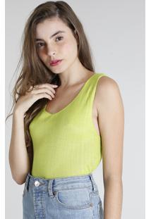 Regata Feminina Mindset Em Tricô Decote V Amarelo Neon