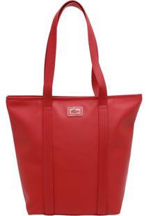 Bolsa Com Pespontos & Textura- Vermelha- 35X38X14Cm