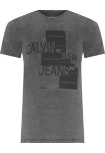 Camiseta Masculina Ckj Etiqueta Silk - Cinza
