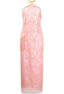 Jacquemus Vestido Midi Com Detalhe Floral - Rosa