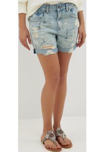 Bermuda Le Lis Blanc Boyfriend Respingos Jeans Azul Feminina (Jeans Medio, 46)