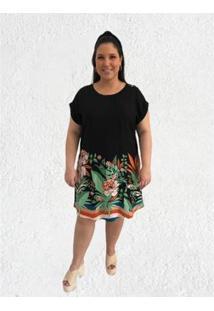 Vestido Plus Size Mais Na Moda Plus Helena - Feminino-Preto