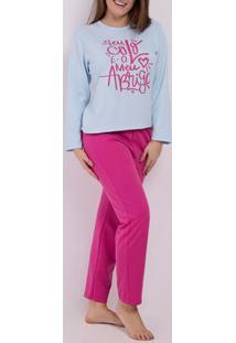 Pijama Moletom Feminino Azul/Rosa Pink