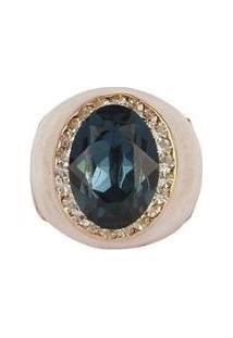 Anel Armazem Rr Bijoux Resinado Pedra Feminino - Feminino-Dourado