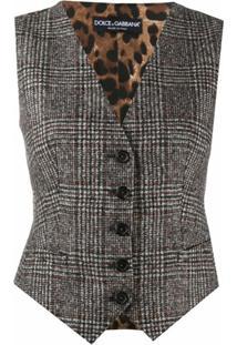 Dolce & Gabbana Colete Xadrez Com Abotoamento Simples - Cinza