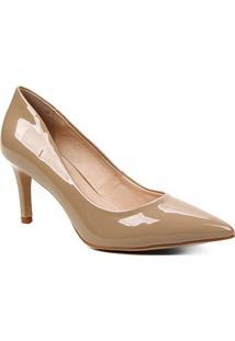 Scarpin Shoestock Verniz Salto Médio Naked - Feminino-Castanha