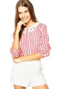 Camisa Mooncity Pedrarias Branco/Vermelha