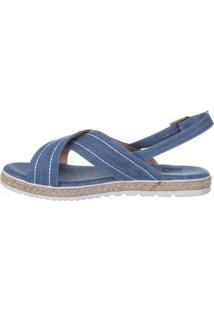 Rasteira Vitória Rocha Tiras Jeans Azul
