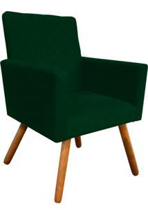 Poltrona Decorativa Nina Tressê Suede Verde D'Rossi