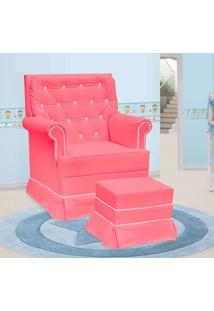 Poltrona Amamentação Giulia Fixa E Puff Corino Rosa E Branco - Confortável