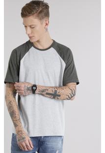 Camiseta Masculina Raglan Básica Manga Curta Decote Careca Cinza Mescla Cinza Mescla Claro