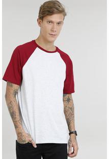 Camiseta Masculina Raglan Básica Manga Curta Decote Careca Cinza Mescla Claro