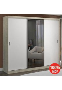 Guarda Roupa 3 Portas C 1 Espelho 100% Mdf 7318E1 Marfim Areia/Bran - Foscarini