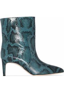 Paris Texas Ankle Boot Com Estampa Pele De Píton - Azul