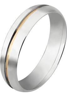 Aliança De Prata Com Ouro - Unissex-Prata