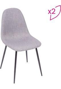 Jogo De Cadeiras Charla- Cinza & Preto- 2Pçs- Oror Design