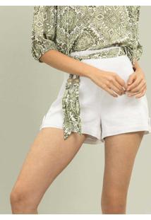 Shorts Linho Com Cinto Branco - Lez A Lez