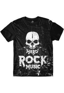 Camiseta Bsc Motoqueiros Caveira Hard Rock Music Sublimada - Masculino-Preto