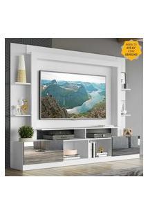 "Rack C/ Painel Tv 65"" Portas C/ Espelho Oslo Multimóveis Branco/Tenerife"