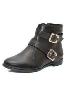 Bota Cano Curto Feminina Couro Café Fumex Kuento Shoes