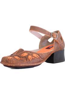 Sapato Couro J.Gean Boneca Vintage Laranja