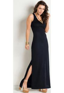 Vestido Longo Preto Com Fenda Na Lateral