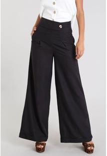 Calça Feminina Pantalona Com Linho E Botão Preta