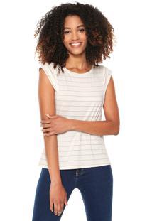 Camiseta Lunender Listras Off-White/Dourada