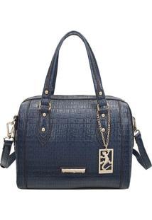Bolsa Texturizada Com Tag- Azul Marinho & Dourada- 2Fellipe Krein