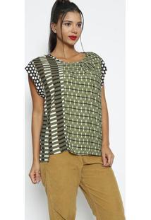 Blusa Listrada Com Pregas- Verde & Off White- Colccicolcci
