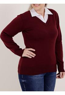 Blusa De Tricot Plus Size Feminina Bordô
