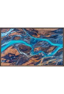 Quadro Decorativo Stone River- Marrom Escuro & Azul-Arte Prã³Pria