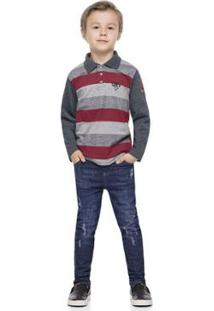 Camisa Polo Meia Malha Rotativa Listrada Infantil Quimby Masculina - Masculino-Cinza