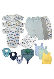 Kit 14 Peças Maternidade Roupa De Bebê Menino Menina Enxoval Azul