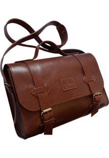 Bolsa Line Store Leather Satchel Oregon Média Couro Marrom Avermelhado