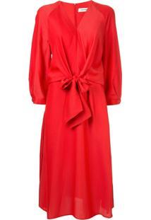 Cefinn Vestido Midi Com Amarração Frontal - Vermelho