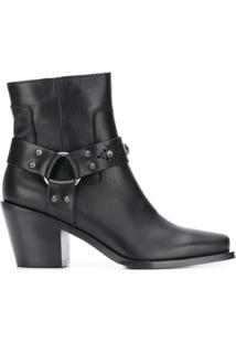 Pinko Ankle Boot 'Carrara' De Couro - Preto