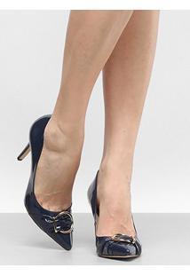 Scarpin Shoestock Salto Alto - Feminino-Marinho