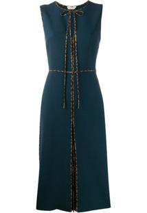 Fendi Vestido Com Aplicação Ff - Azul