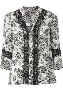 Fillity Blusa Estampada Com Renda - Branco